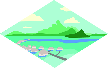 show off: Show off your love of Tahiti with this beautiful island design. This will look great on t-shirts, banners, beach towels, tote bags and more. Illustration