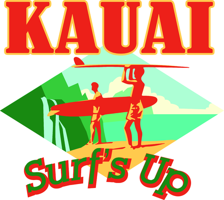 Ride the waves in style with this awesome Kauai Surfers design. This will look great on t-shirts, hoodies, jackets, beach towels, tote bags and more.