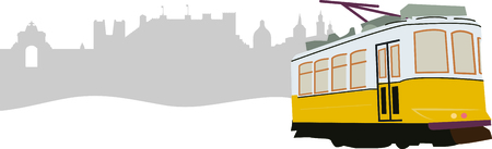 Ride in style with this neat Lisbon Tram design. This will look great on t-shirts, hoodies, banners, tote bags and more. Ilustracja
