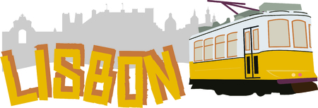 streetcar: Ride in style with this neat Lisbon Tram design. This will look great on t-shirts, hoodies, banners, tote bags and more. Illustration
