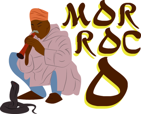 Personalize your project with this neat Marrakech Snake Charmer design. This will look great on t-shirts, hoodies, banners, tote bags and more. Stock Illustratie