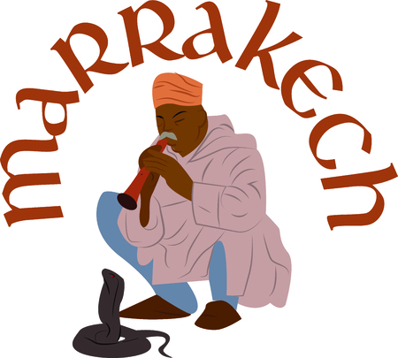 Personalize your project with this neat Marrakech Snake Charmer design. This will look great on t-shirts, hoodies, banners, tote bags and more. Ilustracja