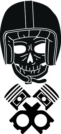 Bikers will love this awesome motorcycle helmet skull design. This will look great on t-shirts, hoodies, jackets, banners, tote bags and more.