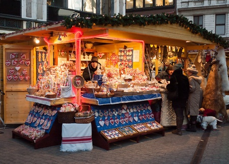 gastronomic: Budapest, Hungary - December 2011: Traditional Christmas fair in the city center Editorial