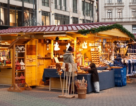 europeans: Budapest, Hungary - December 2011: Traditional Christmas fair in the city center Editorial