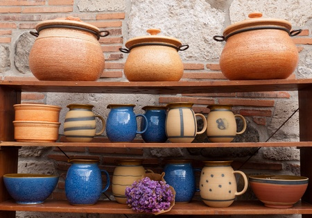 Rustic ceramic dishes in the market