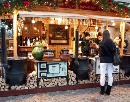 Budapest, Hungary - December 2011: Traditional Christmas fair in the city center Editorial