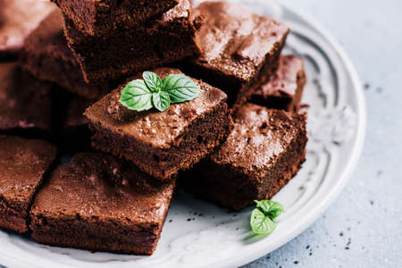 Chocolate Brownie Cake with mint close up