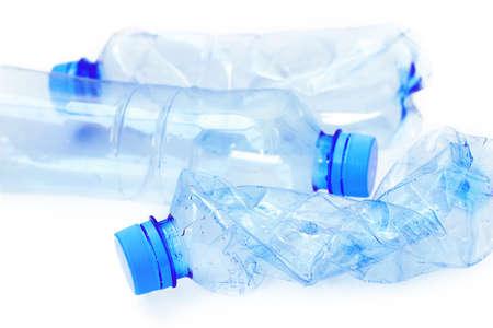 Plastic bottles on white background close up Standard-Bild
