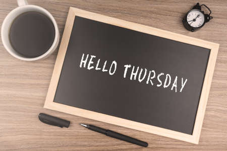thursday: HELLO THURSDAY Stock Photo