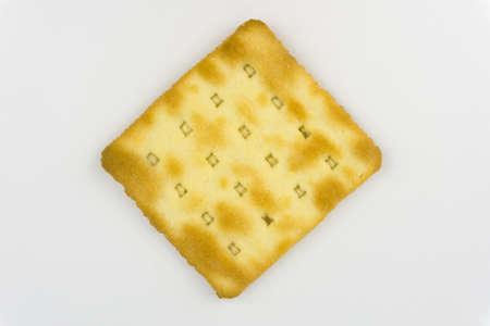Cream Crackers on white background Stock Photo