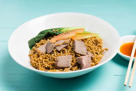 Local cuisine Kolo Mee or Mee Kolok in Sarawak, Malaysia.