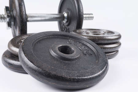 Fitness equipment : Training dumbbells isolated on white background.