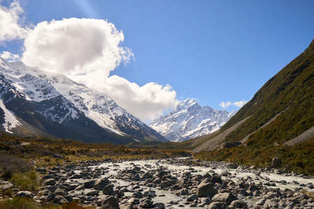 AorakiMount Cook, the tallest mountain in New Zealand, South Island.