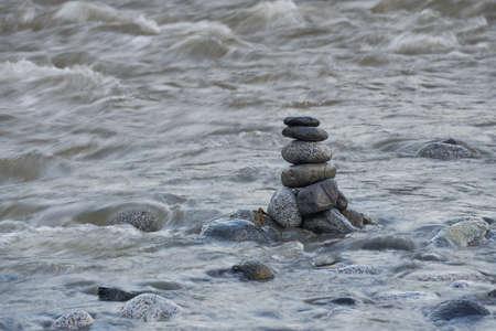 Stack of pebble stones. Concept zen, spa, summer, relax.