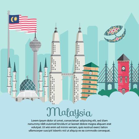 Edificio de Malasia - Bandera bendera berkibar masjid shah alam torre inclinada KLCC merdeka