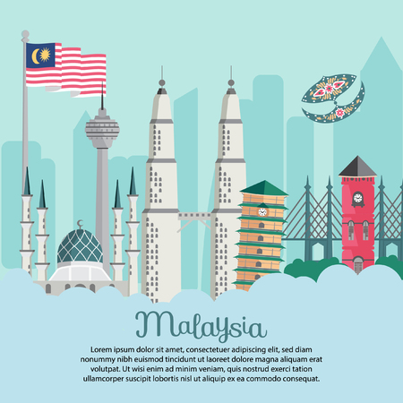 Malaysia building - Flag bendera berkibar masjid shah alam leaning tower KLCC merdeka