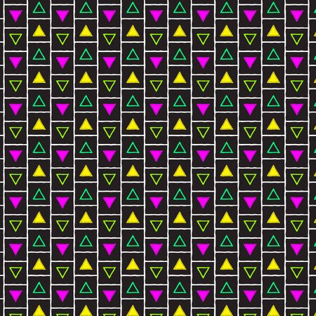 Abstract triangle pattern - background texture yellow purple pink green line Illustration