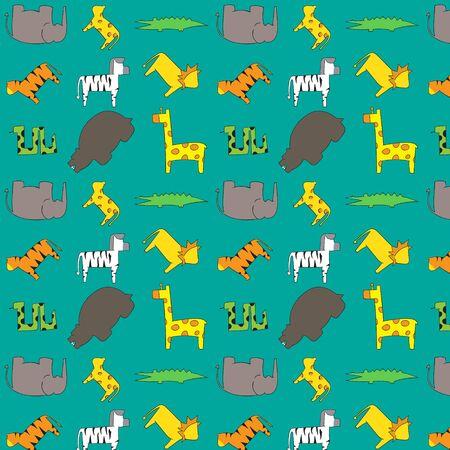 Vector - Safari wild animals jungle pattern Illustration