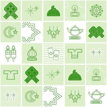 Hari Raya Aidilfitri celebration with cute illustration - icon raya ketupat balik kampung bulan ramadhan pelita baju kurung melayu bunga api syawal mosque dumpling fireworks sampul duit raya