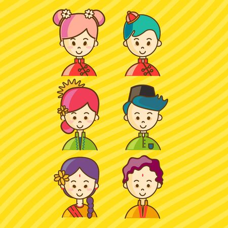 Vector - Malaysia & Singapore National Cute cartoon character of Malay, Indian & Chinese in traditional costume