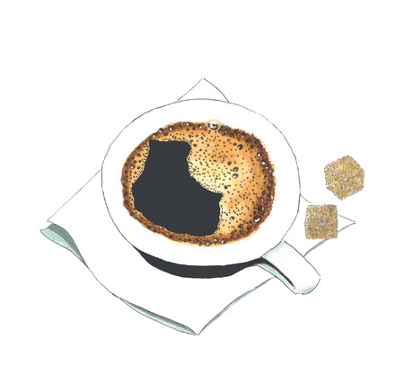 A cup of black coffee with foam bubbles on a white napkin with pieces of cane sugar