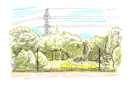 Sketch of green and yellow landscape of the city botanic garden