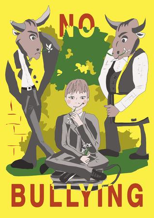 Das Plakat gegen Mobbing, Jungs sehen aus wie die Bullen in der Nähe der Schule