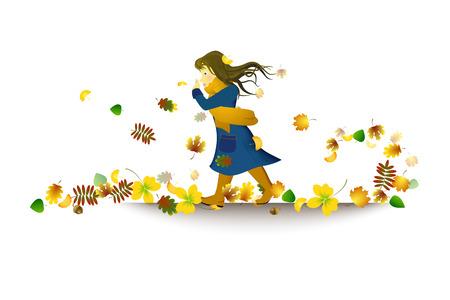 windy city: Chica en el tiempo ventoso caminando por la ciudad en el oto�o
