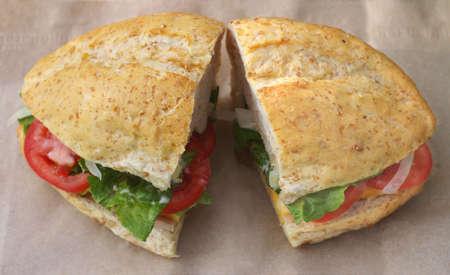 Deli-style sandwich on white bread photo