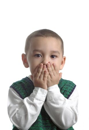 A young boy with a surprised expression Stock Photo - 735986