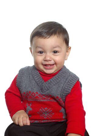 chłopięctwo: Portret z ząbkowanie Toddler chłopca