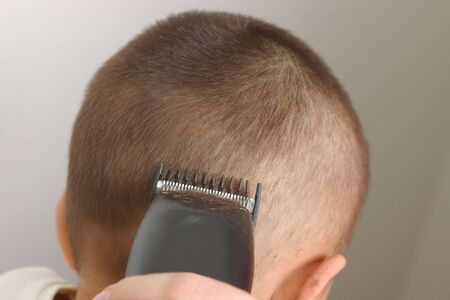crewcut: Closeup view of a haircutting session