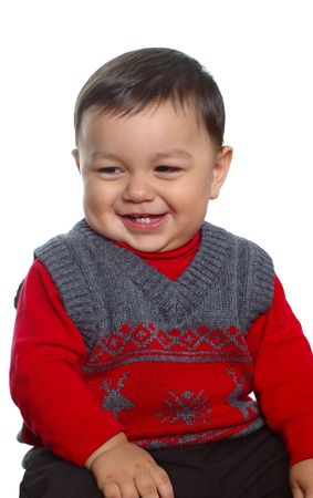 turtleneck: Adorable  boy wearing a red sweater and turtleneck