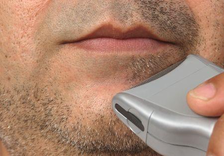Closeup of mans shaving session