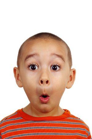 Portret van een jonge jongen is dom gezicht