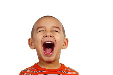 crewcut: Portrait of a young boy shouting