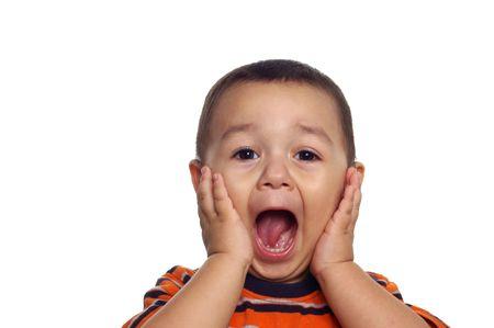Jongen met verbaasd of geschokt meningsuiting