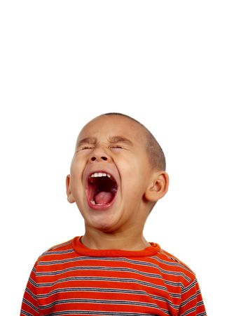 crewcut: Boy shouting or screaming Stock Photo