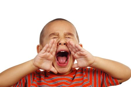 crewcut: Horizontal portrait of a young hispanic boy yelling Stock Photo