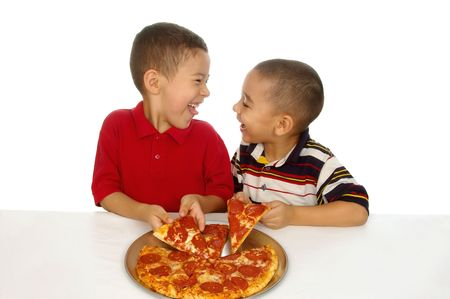 Kids and pizza photo
