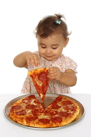 satisfy: A toddler girl and pizza