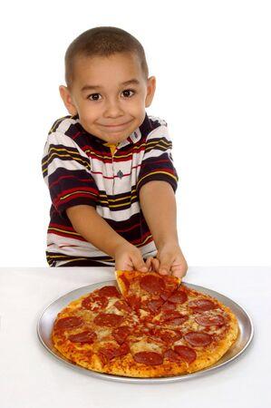 kid and pizza Reklamní fotografie