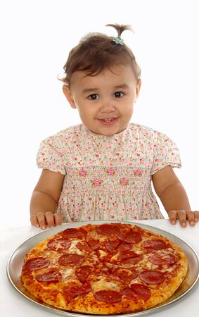 Child and pizza 15 months old photo