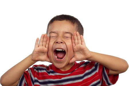 loud: Hispanic boy yelling or screaming 5 years old