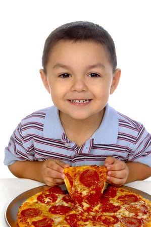 kid and pizza photo