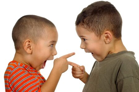 silly: kids arguing 4 and 5 years old Stock Photo