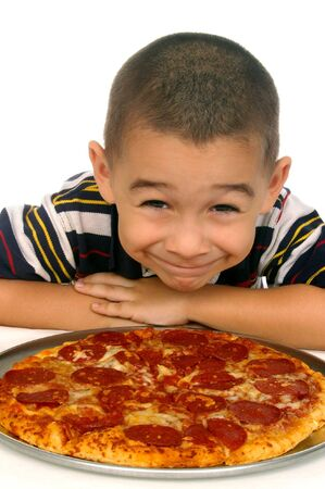 Kid and pizza 5 years old isolated on white photo