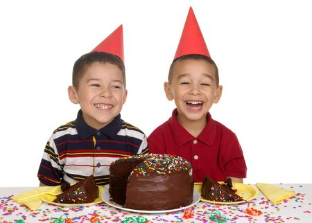 5 6: kids at a birthday party, 5 and 6 years old Stock Photo