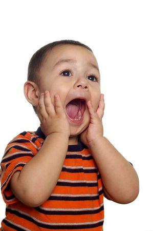 두 살짜리 소년 소리 또는 고함 스톡 콘텐츠